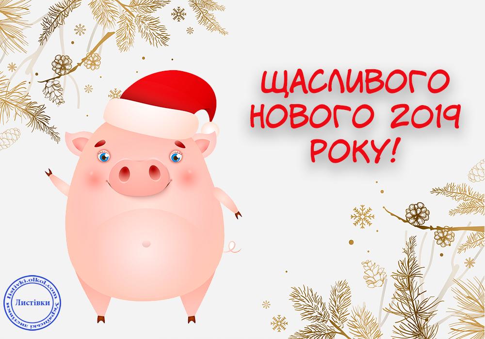 Вітальні листівки з Новим Роком Свині 2019