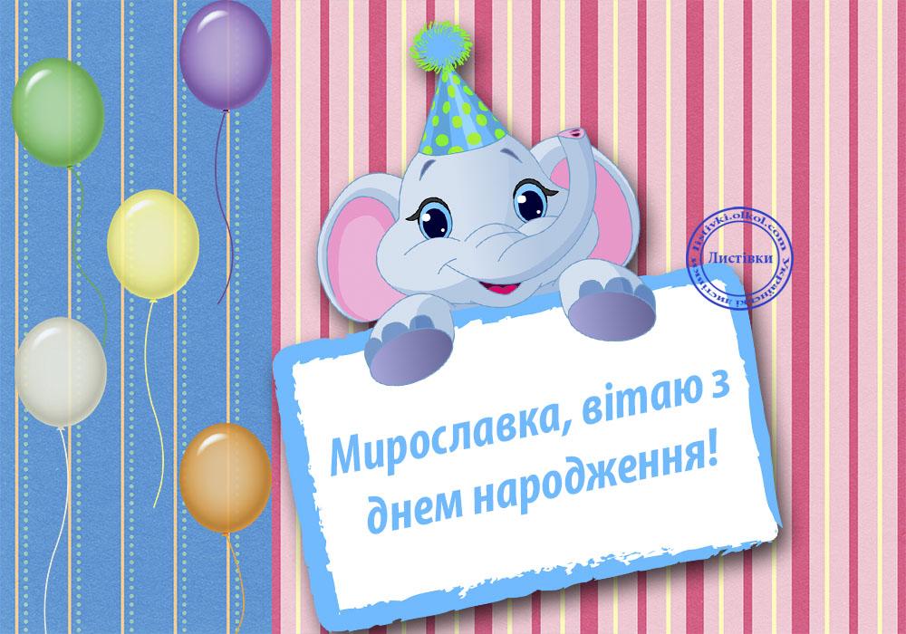 Кумедна листівка з днем народження Мирославки