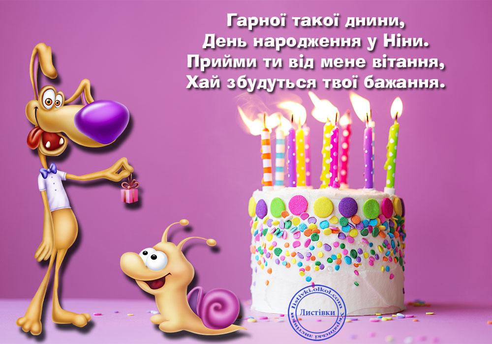 Прикольна вітальна картинка Ніні на день народження