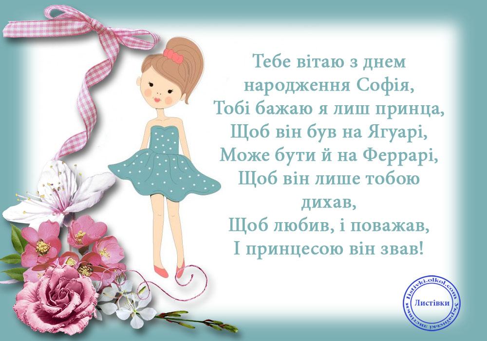 Смішна листівка з днем народження Софії
