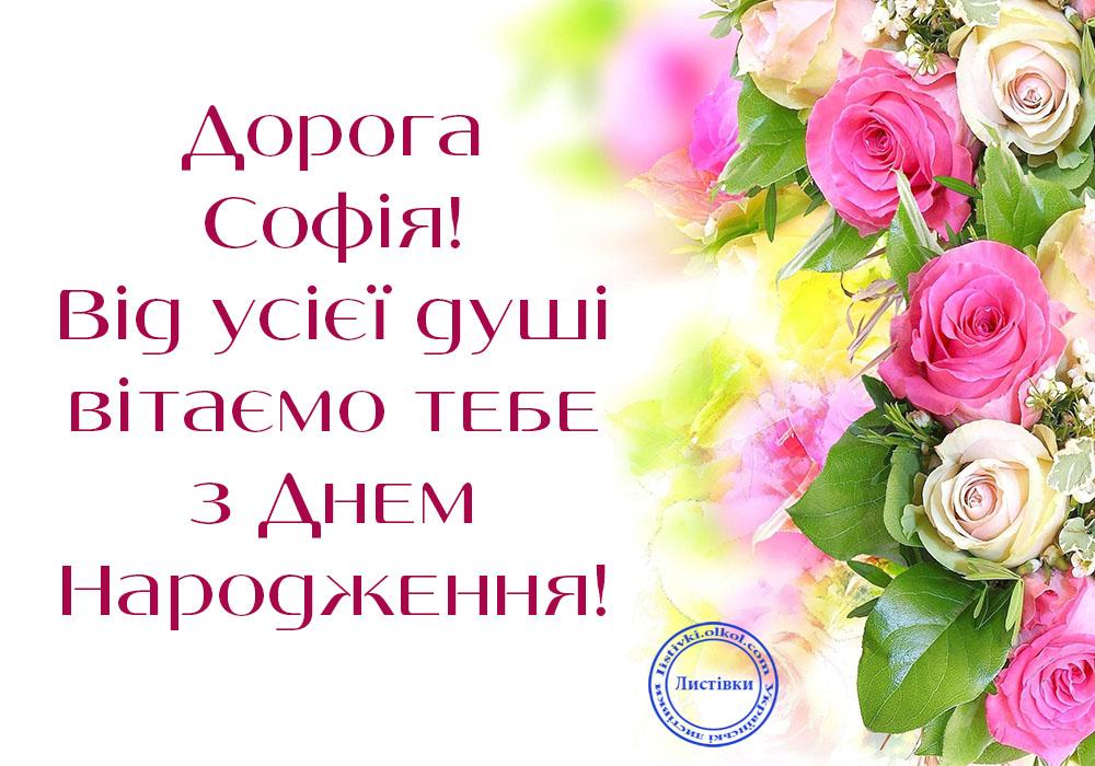 Безкоштовна вітальна листівка з Днем народження Софії