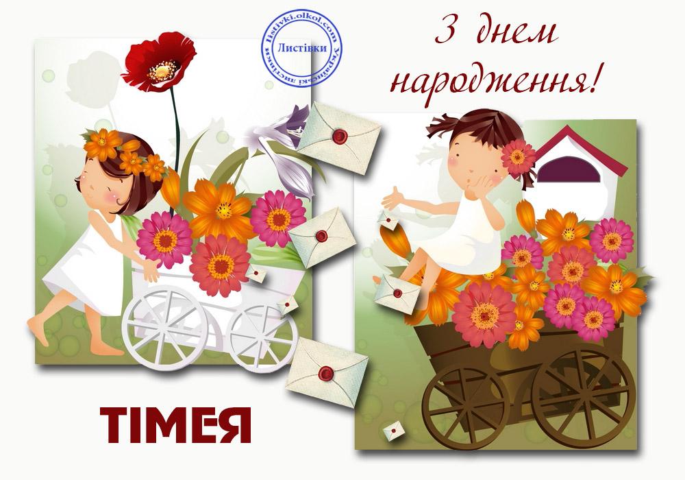 Авторська вітальна листівка Тімеї з днем народження