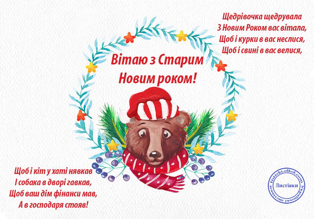 Прикольна щедрівка на Старий Новий рік на листівці